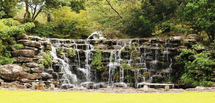 敷地内の滝
