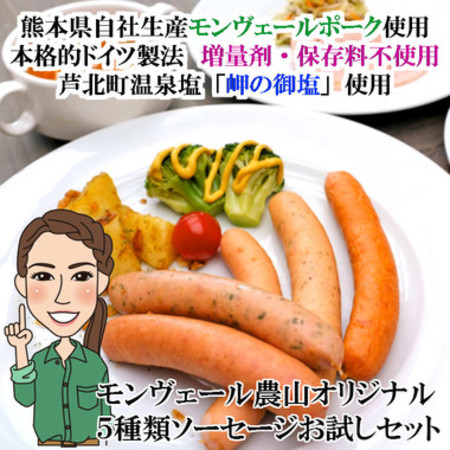 熊本県生産直売 モンヴェール農山オリジナルソーセージ5種類 お試しパック